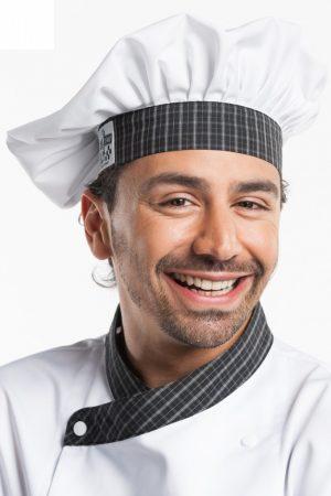 ZANDANA שף קלאסי לבן פס משבצות