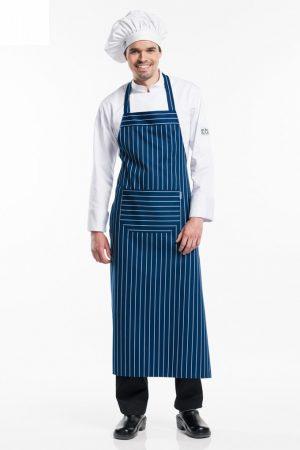 סינר BBQ רחב וארוך במיוחד בצבע כחול לבן פסים
