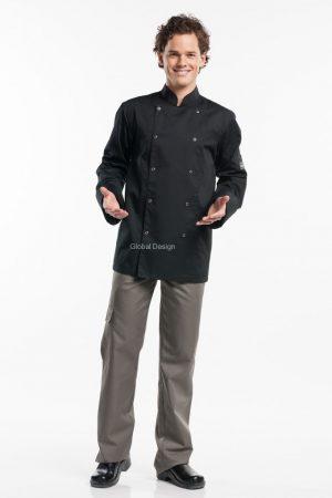 Bacio גקט שף ארוך צבע שחור