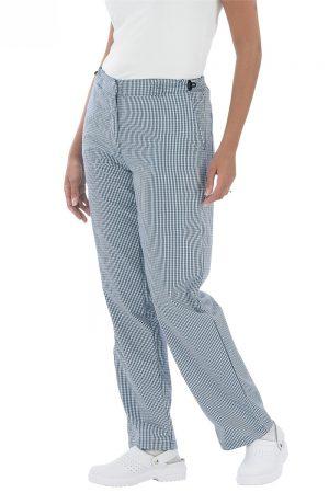 מכנסי נשים שפית / טבחית / קונדיטורית כחול לבן