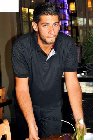 חולצת פולו כותנה גברים צבע שחור שרוול קצר